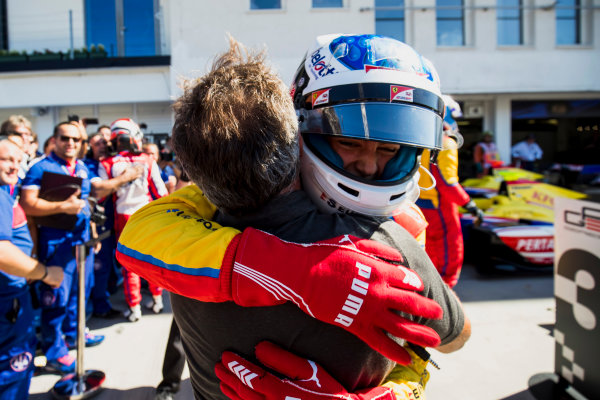 2017 GP3 Series Round 4.  Hungaroring, Budapest, Hungary. Sunday 30 July 2017. Giuliano Alesi (FRA, Trident), with father, Jean Alesi. Photo: Zak Mauger/GP3 Series Media Service. ref: Digital Image _56I4131
