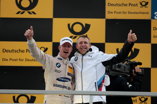 2017 DTM Round 4 Norisring, Nuremburg, Germany Sunday 2 July 2017. Podium: Maxime Martin, BMW Team RBM, BMW M4 DTM abd Bart Mampaey, Team principal BMW Team RBM World Copyright: Alexander Trienitz/LAT Images ref: Digital Image 2017-DTM-R3-NOR-AT1-3895