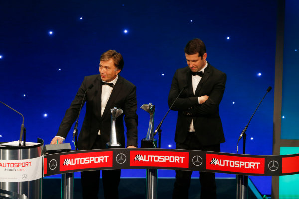 2015 Autosport Awards. Grosvenor House Hotel, Park Lane, London. Sunday 6 December 2015. Rally Car of the Year, Volkswagen Polo R WRC, Jost Capito and Francois-Xavier Demaison. World Copyright: Sam Bloxham/LAT Photographic. ref: Digital Image _SBL4734