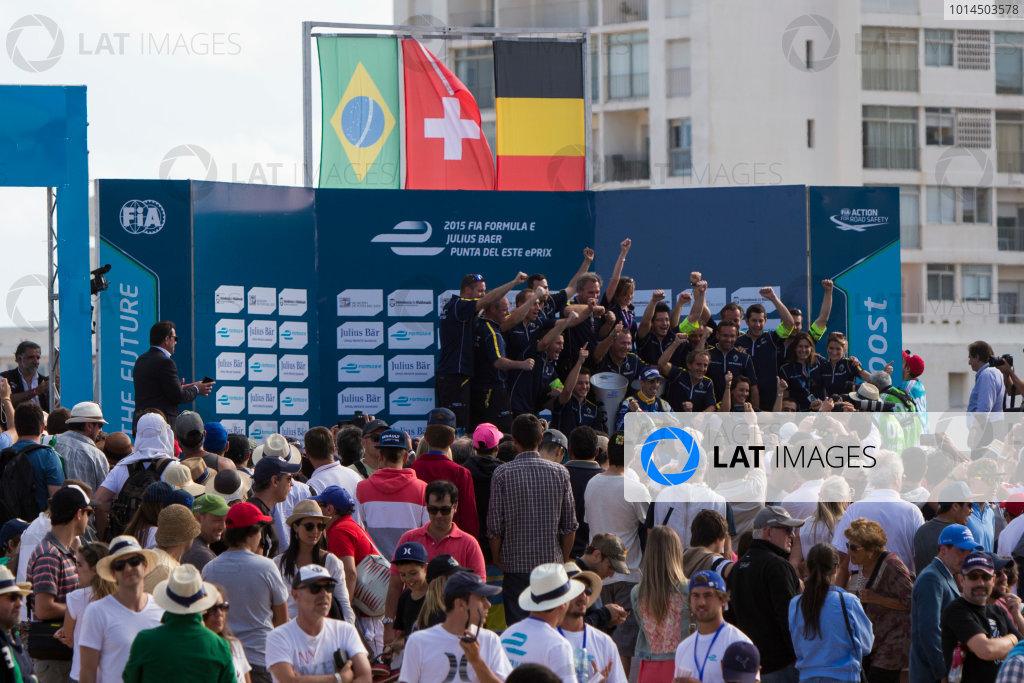 2015/2016 FIA Formula E Championship. Punta del Este ePrix, Punta del Este, Uruguay. Saturday 19 December 2015. Sebastien Buemi (SUI), Renault e.Dams Z.E.15 and the e.Dams Renault team on the podium. Photo: Zak Mauger/LAT/Formula E ref: Digital Image _L0U9099