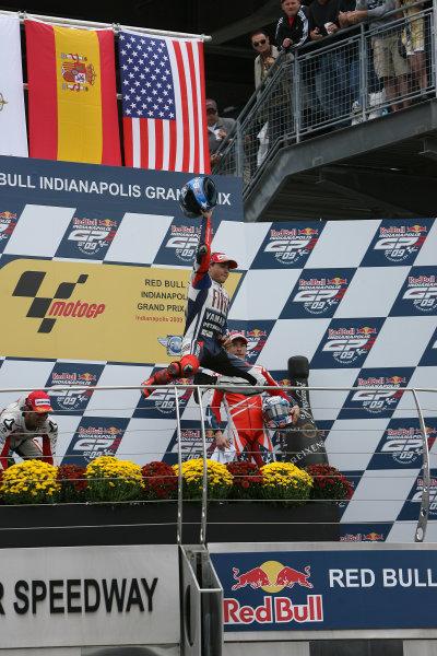 Indianapolis Grand Prix, Indianapolis, USA.28th - 30th August 2009.Jorge Lorenzo Fiat Yamaha Team jumps for joy on the podium.World Copyright: Martin Heath/LAT Photographic ref: Digital Image SE5K6489
