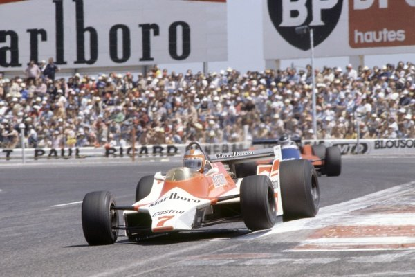 1980 French Grand Prix.Paul Ricard, France. 27-29 June 1980.John Watson (McLaren M29C-Ford), 7th position, leads Jean-Pierre Jarier (Tyrrell 010-Ford Cosworth), 14th position.World Copyright: LAT PhotographicRef: 35mm transparency 80FRA17