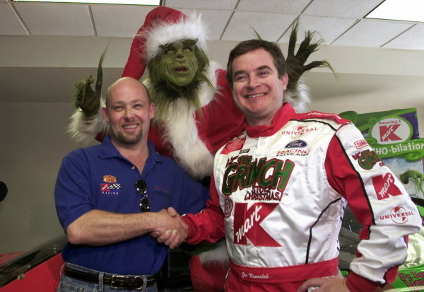 Joe Nemechek (USA) (right) meets new teamate Todd Bodine (Left) with help from the Grinch. Nemechek replaces Jimmy Spencer in the #26 Kmart Ford Taurus for 2002. 