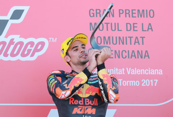 2017 Moto2 Championship - Round 18 Valencia, Spain  Sunday 12 November 2017 Podium: Race winner Miguel Oliveira, Red Bull KTM Ajo  World Copyright: Gold and Goose Photography/LAT Images  ref: Digital Image 706493