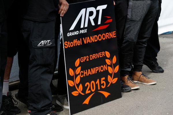 2015 GP2 Series Round 9. Sochi Autodrom, Sochi, Russia. Sunday 11 October 2015. Stoffel Vandoorne (BEL, ART Grand Prix), 2015 GP2 Champion. World Copyright: Zak Mauger/LAT Photographic ref: Digital Image _L0U9342