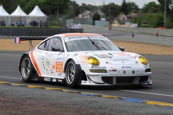 Circuit de La Sarthe, Le Mans, France. 13th - 17th June 2012. Wednesday Free Practice.Paul Daniels/Markus Palttala/Joel Camathias, JWA-AVILA, No 55 Porsche 911 RSR (997). Photo: Jeff Bloxham/LAT Photographic. ref: Digital Image DSC_9681
