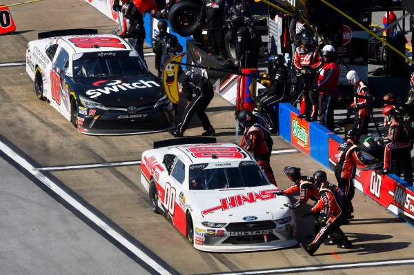 #00: Cole Custer, Stewart-Haas Racing, Ford Mustang Haas Automation and #18: Noah Gragson, Joe Gibbs Racing, Toyota Camry Switch