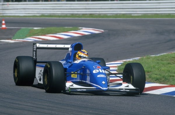 1993 German Grand Prix.Hockenheim, Germany. 23rd - 25th July 1993.Mark Blundell (Ligier JS39 Renault) 3rd position, action.World Copyright: LAT Photographic.ref: 35mm Colour Transparency.