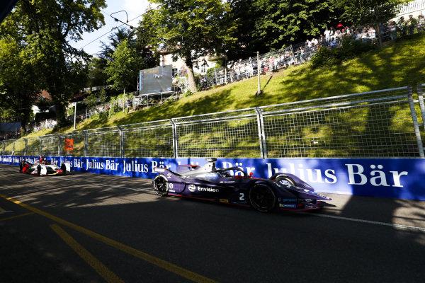 Sam Bird (GBR), Envision Virgin Racing, Audi e-tron FE05 leads Daniel Abt (DEU), Audi Sport ABT Schaeffler, Audi e-tron FE05
