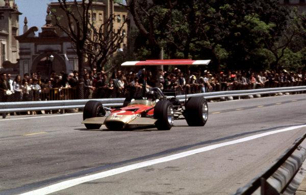 1969 Spanish Grand Prix.Monjuich Park, Barcelona, Spain.2-4 May 1969.Jochen Rindt (Lotus 49B Ford).Ref-69 ESP 05.World Copyright - LAT Photographic