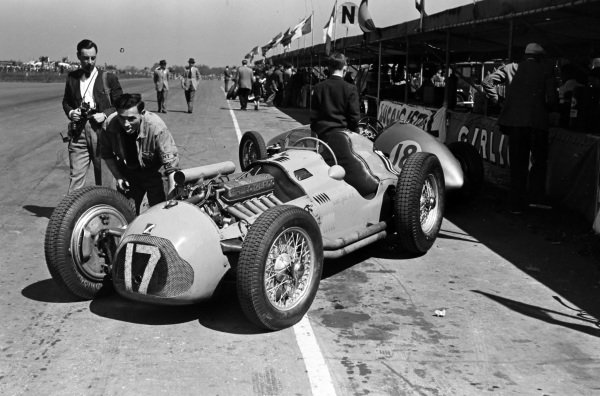 Yves Giraud-Cabantous' Talbot T26C in the pits, with the Alta GP of George Abecassis behind it.