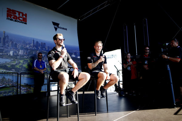 Romain Grosjean, Haas F1 and Kevin Magnussen, Haas F1 on stage