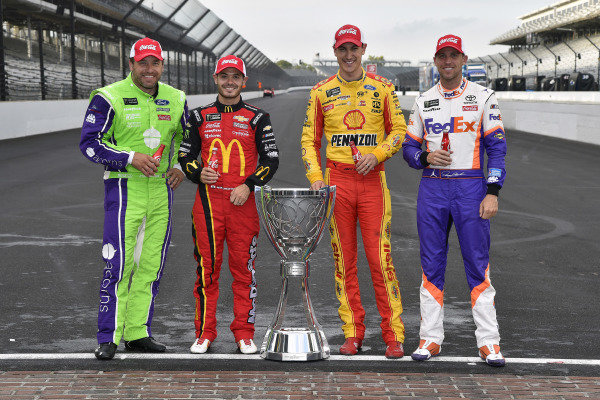 #6: Ryan Newman, Roush Fenway Racing, Ford Mustang Acorns, #42: Kyle Larson, Chip Ganassi Racing, Chevrolet Camaro McDonald's, #22: Joey Logano, Team Penske, Ford Mustang Shell Pennzoil and #11: Denny Hamlin, Joe Gibbs Racing, Toyota Camry FedEx Express