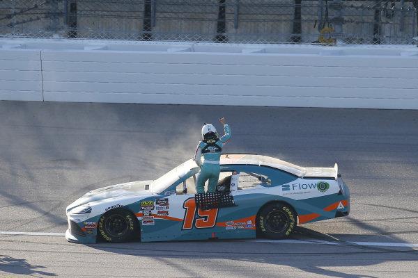 #19: Brandon Jones, Joe Gibbs Racing, Toyota Supra Flow celebrates his win