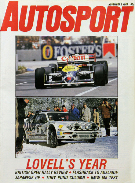 Cover of Autosport magazine, 6th November 1986