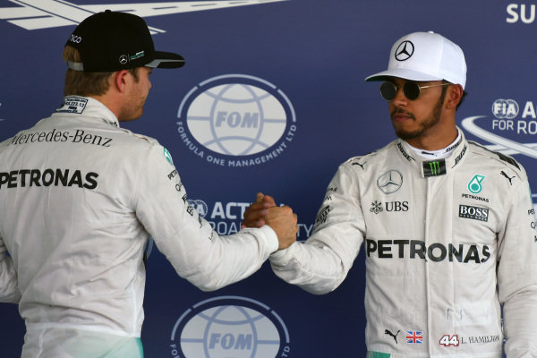 Nico Rosberg (GER) Mercedes AMG F1 and Lewis Hamilton (GBR) Mercedes AMG F1 celebrate in parc ferme at Formula One World Championship, Rd19, Mexican Grand Prix, Qualifying, Circuit Hermanos Rodriguez, Mexico City, Mexico, Saturday 29 October 2016.
