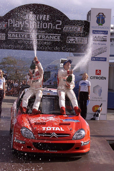 2001 World Rally Championship.Rallye de France, Ajaccio, Corsica, October 19-21.Jesus Puras celebrates his first WRC victory on the podium.Photo: Ralph Hardwick/LAT