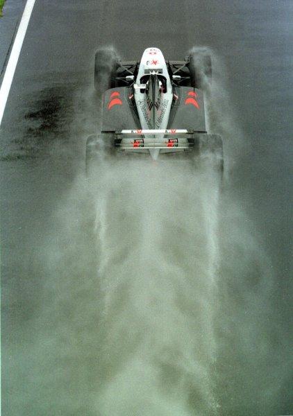 1998 British Grand Prix.Silverstone, England.10-12 July 1998.Mika Hakkinen (McLaren MP4/13 Mercedes-Benz) 2nd position. World Copyright - Steve Etherington/LAT Photographic