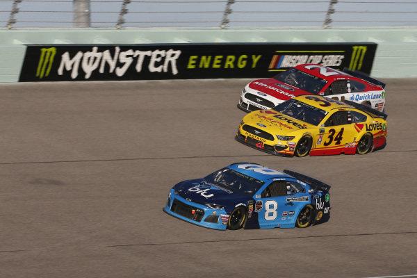 #8: Daniel Hemric, Richard Childress Racing, Chevrolet myblu #34: Michael McDowell, Front Row Motorsports, Ford Mustang Love's Travel Stops