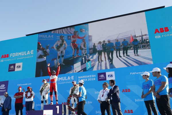Jérôme d'Ambrosio (BEL), Mahindra Racing, M5 Electro, celebrates on the podium after winning the race
