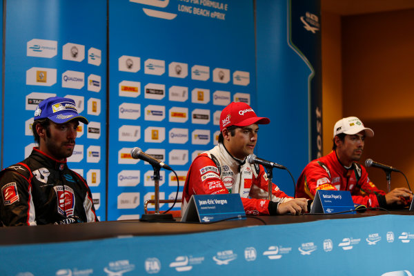 2014/2015 FIA Formula E Championship. Long Beach ePrix, Long Beach, California, United States of America. Sunday 5 April 2015 Press Conference. Nelson Piquet Jr (BRA)/China Racing - Spark-Renault SRT_01E, first, Jean-Eric Vergne (FRA)/Andretti Motorsport - Spark-Renault SRT_01E, second and Lucas di Grassi (BRA)/Audi Abt Sport - Spark-Renault SRT_01E, third. Photo: Zak Mauger/LAT/Formula E ref: Digital Image _L0U8841