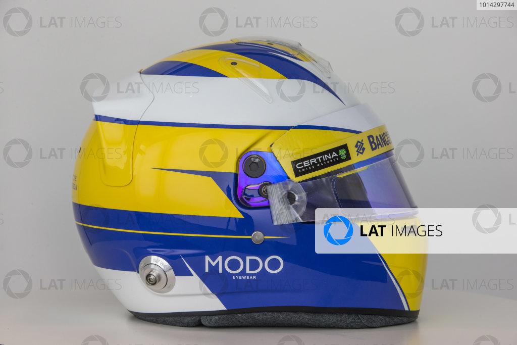 Hinwil, Switzerland. Thursday 29 January 2015. Helmet of Marcus Ericsson, Sauber.  World Copyright: Sauber F1 Team (Copyright Free FOR EDITORIAL USE ONLY) ref: Digital Image 2015_SAUBER_HELMET_07