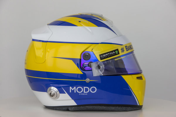 Hinwil, Switzerland. Thursday 29 January 2015. Helmet of Marcus Ericsson, Sauber.  World Copyright: Sauber F1 Team (Copyright Free FOR EDITORIAL USE ONLY) ref: Digital Image 2015_SAUBER_HELMET_07