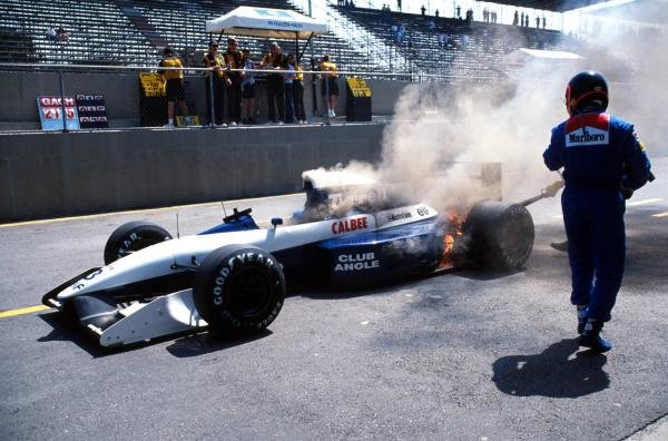 Olivier Grouillard (FRA) Tyrrell retires from the race with a gearbox problem. Formula One World Championship, Brazilian Grand Prix, Interlagos, 5 April 1992.