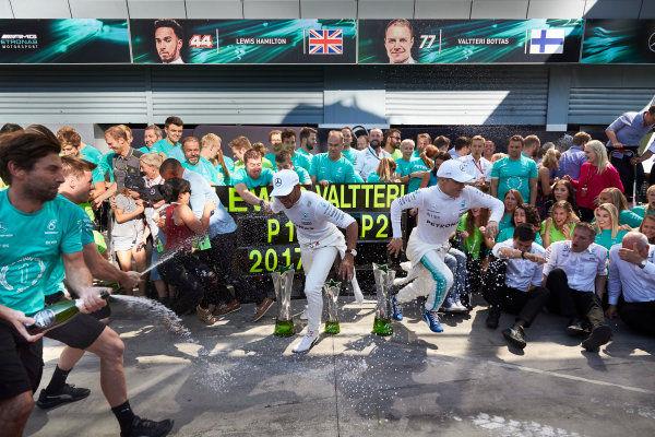 Autodromo Nazionale di Monza, Italy. Sunday 3 September 2017. Lewis Hamilton, Mercedes AMG, 1st Position, Valtteri Bottas, Mercedes AMG, 2nd Position, and the Mercedes team celebrate victory. World Copyright: Steve Etherington/LAT Images  ref: Digital Image SNE14748