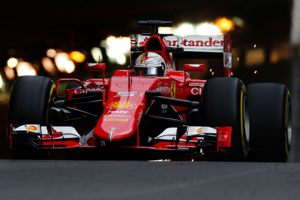 Monte Carlo, Monaco. Thursday 21 May 2015. Sebastian Vettel, Ferrari SF15-T. World Copyright: Glenn Dunbar/LAT Photographic. ref: Digital Image _W2Q6307