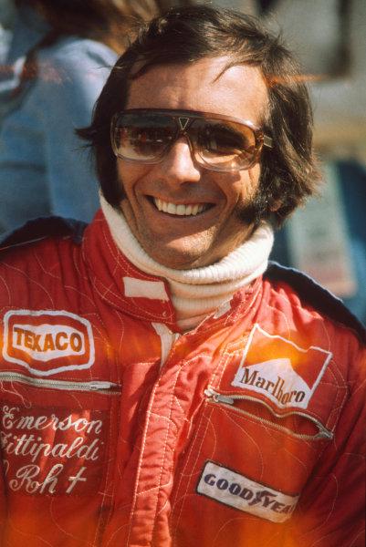 Watkins Glen, New York, USA. 3-5 October 1975. Emerson Fittipaldi (McLaren M23-Ford), 2nd position, portrait World Copyright: LAT Photographic Ref: 75USA07
