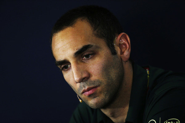 Circuit de Catalunya, Barcelona, Spain. Friday 9 May 2014. Cyril Abiteboul, Team Principal, Caterham F1, in the Friday Press Conference. World Copyright: Charles Coates/LAT Photographic. ref: Digital Image _N7T8291
