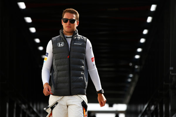 Monte Carlo, Monaco. Thursday 25 May 2017. Stoffel Vandoorne, McLaren, arrives in the pits. World Copyright: Andy Hone/LAT Images ref: Digital Image _ONZ8387
