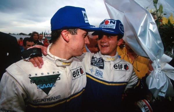 Right: Race winner Frank Lagorce (FRA) DAMS; left: team mate Olivier Panis (FRA) DAMS who was punted off the track into retirement but still claimed the championship by one point.International Formula 3000 Championship, Nogaro, France, 10 October 1993.