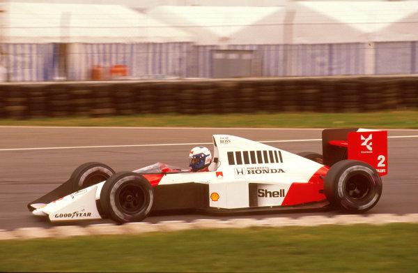 Silverstone, England.14-16 July 1989.Alain Prost (McLaren MP4/5 Honda) 1st position.Ref-89 GB 14.World Copyright - LAT Photographic