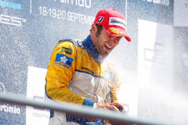 Sunday Race.Luca Filippi (ITA, Super Nova Racing) celebrates his victory on the podium. World Copyright: Alastair Staley / GP2 Series Media Service.Ref: _O9T3905 jpg