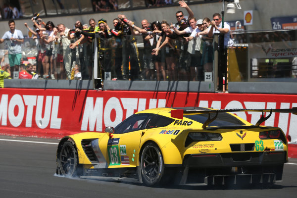 2017 Le Mans 24 Hours Circuit de la Sarthe, Le Mans, France. Sunday 18th  June 2017 #63 Corvette Racing-GM Chevrolet Corvette C7.R: Jan Magnussen, Antonio Garcia, Jordan Taylor  World Copyright: JEP/LAT Images