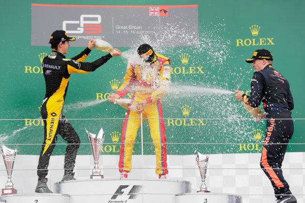 2017 GP3 Series Round 3.  Silverstone, Northamptonshire, UK. Giuliano Alesi (FRA, Trident). Jack Aitken (GBR, ART Grand Prix). and Niko Kari (FIN, Arden International).  Sunday 16 July 2017 Photo: Zak Mauger/GP3 Series Media Service. ref: Digital Image _56I0244