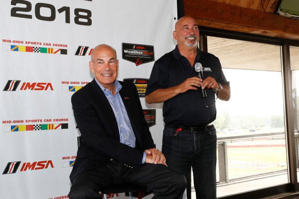 Verizon IndyCar Series Honda Indy 200 at Mid-Ohio Mid-Ohio Sports Car Course, Lexington, OH USA Friday 28 July 2017 IMSA announces a return to Mid-Ohio Sports Car Course in 2018.  Bobby Rahal and IMSA CEO Scott Atherton World Copyright: Michael L. Levitt LAT Images
