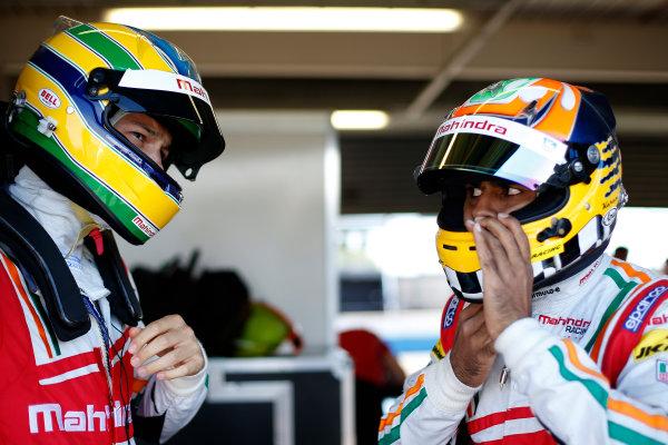 FIA Formula E Test Day, Donington Park, UK.  9th - 10th July 2014.  Bruno Senna and Karun Chandok, Mahindra Racing. Photo: Glenn Dunbar/FIA Formula E ref: Digital Image _89P3255
