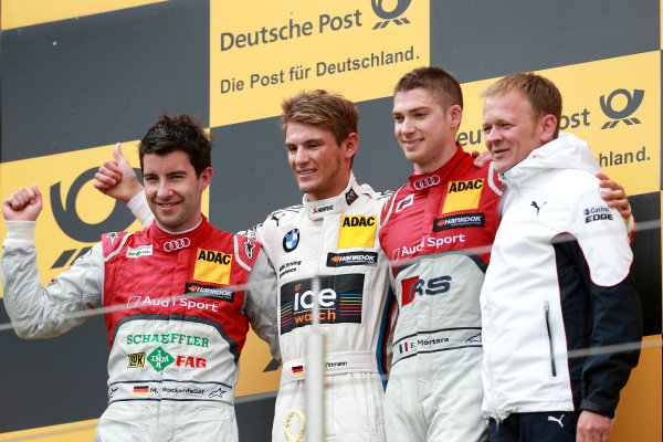 2014 DTM Championship Round 7 - Nurburgring, Germany 15th - 17th August 2014 Podium, 2nd Mike Rockenfeller (GER) Audi Sport Team Phoenix Audi RS 5 DTM, 1st Marco Wittmann (GER) BMW Team RMG BMW M4 DTM, 3rd Edoardo Mortara (ITA) Audi Sport Team Abt Audi RS 5 DTM and Stefan Reinhold  (GER) BMW Team RMG World Copyright: XPB Images / LAT Photographic  ref: Digital Image 3257281_HiRes