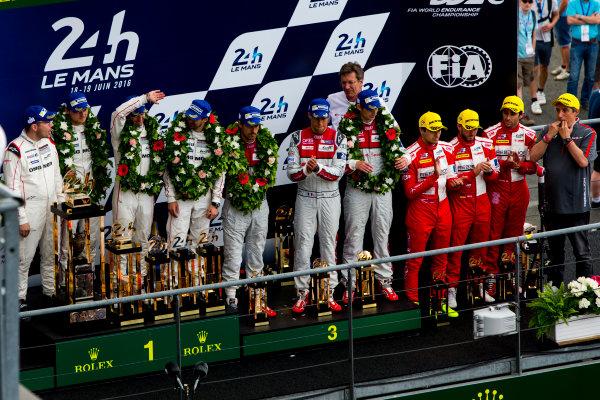 2016 Le Mans 24 Hours. Circuit de la Sarthe, Le Mans, France. Sunday 19 June 2016. Porsche Team / Porsche 919 Hybrid - Romain Dumas (FRA), Neel Jani (CHE), Marc Lieb (DEU), Toyota Gazoo Racing / Toyota TS050 - Hybrid - Stephane Sarrazin (FRA), Michael Conway (GBR), Kamui Kobayashi (JPN), Audi Sport Team Joest / Audi R18 - Lucas Di Grassi (BRA), Loic Duval (FRA), Oliver Jarvis (GBR), Rebellion Racing / Rebellion R-One-AER - Nicolas Prost (FRA), Nick Heidfeld (DEU), Nelson Piquet (NLD).  World Copyright: Zak Mauger/LAT Photographic ref: Digital Image _79P9185
