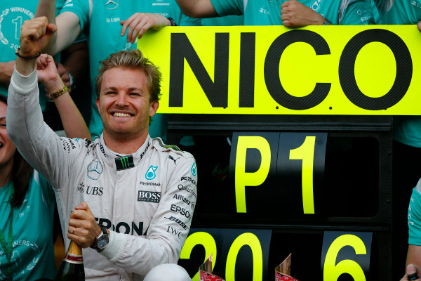 Baku City Circuit, Baku, Azerbaijan. Sunday 19 June 2016. Nico Rosberg, Mercedes AMG celebrates with his team after winning the race. World Copyright: Andrew Hone/LAT Photographic ref: Digital Image _ONY1909