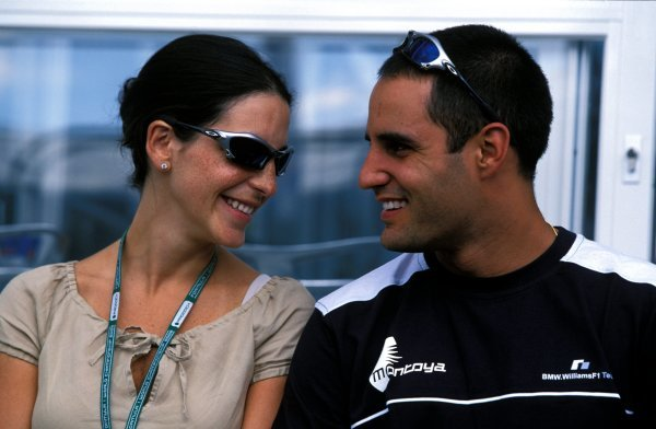 (L-R) Connie Freydel (ESP) and her fiancee Juan Pablo Montoya (COL) Williams.