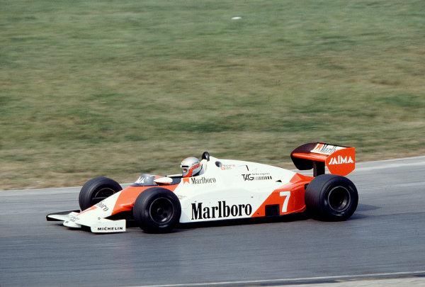 1983 European Grand Prix.Brands Hatch, England.23-25 September 1983.John Watson (McLaren MP4/1E TAG Porsche).  Ref: 83EUR30. World Copyright - LAT Photographic