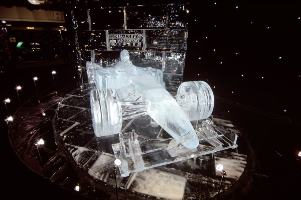 Grosvenor House Hotel, Park Lane, London. 6 December 1998.The full-size ice carving of Mika Hakkinen's championship-winning McLaren in the Assembly Foyer.World Copyright: Dixon/LAT Photographicref: 35mm Transparency Image
