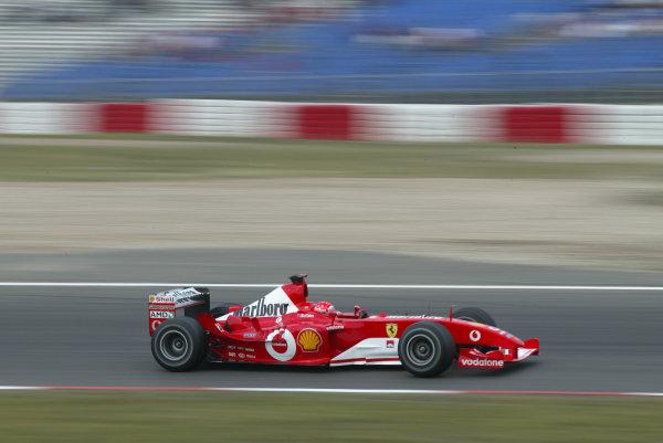 2003 European Grand Prix - Saturday Final Qualifying,Nurburgring, Germany. 28th June 2003Michael Schumacher, Ferrari F2003 GA, action.World Copyright: Steve Etherington/LAT Photographic ref: Digital Image Only