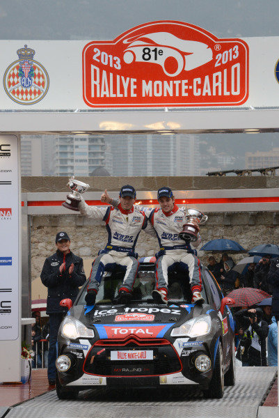 Sebastien Chardonnet (FRA) and Thibault De La Haye (FRA), Citroen, on the podium. FIA World Rally Championship, Rd1, Rally Monte- Carlo, Day Five, Monte-Carlo, Monaco, 20 January 2013.
