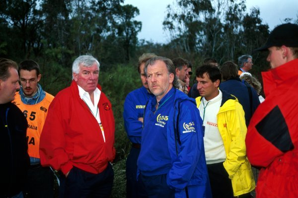 (L to R): Andrew Cowan (GBR) Mitsubishi Ralliart Boss with David Richards (GBR) Prodrive Subaru Team Principal were amongst the team owners on hand to discuss the depth of the water crossings brought on by heavy rain.World Rally Championship, Rally Australia, Perth, Australia, 13-16 September 1996.