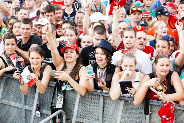 Hungaroring, Budapest, Hungary. Thursday 23 July 2015. Fans wait for autographs from the drivers. World Copyright: Charles Coates/LAT Photographic ref: Digital Image _J5R0737